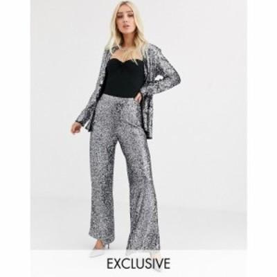 ユニーク21 UNIQUE21 レディース ボトムス・パンツ ワイドパンツ タキシード wide leg tuxedo trousers in sequin with contrast side se
