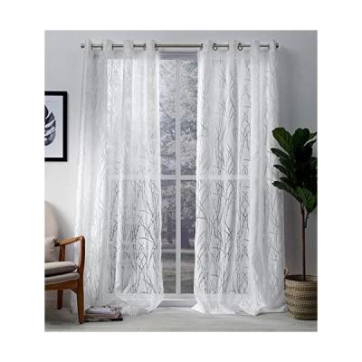 Exclusive Home Curtains エディンバラ シアーブランチ バーンアウト ウィンドウカーテンパネル ペア グロメットトップ付き 52