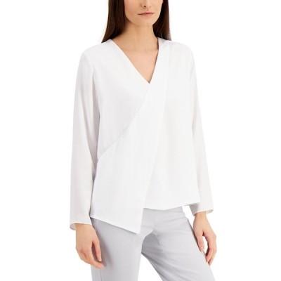 アルファニ カットソー トップス レディース Draped-Front Blouse, Created for Macy's Brilliant White
