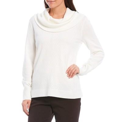 インベストメンツ レディース ニット&セーター アウター Petite Size Long Sleeve Cowl Neck Sweater Winter White