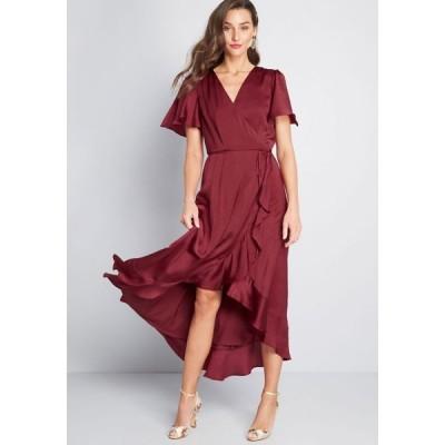 モドクロス ModCloth レディース ワンピース ワンピース・ドレス Stunning Wonder Maxi Wrap Dress wine