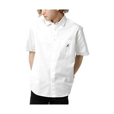 [カンゴール] シャツ メンズ ワンポイント ロゴ 刺繍 半袖 レギュラーシャツ 無地 (ホワイト L)