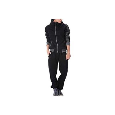 BUZZ WEAR [バズ ウェア] スウェット 上下 メンズ レディース セットアップ 長袖 薄手 秋 冬 ブラック?L