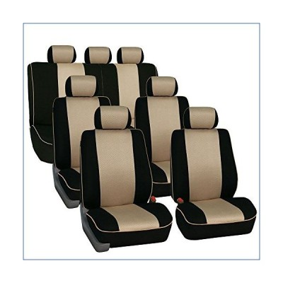 FH Group FH-FB063217 Three Row Cloth Car Seat Covers with Piping Airbag & Split Ready Beige/Black- Fit Most Car, Truck, SUV, or Van 並行輸入品