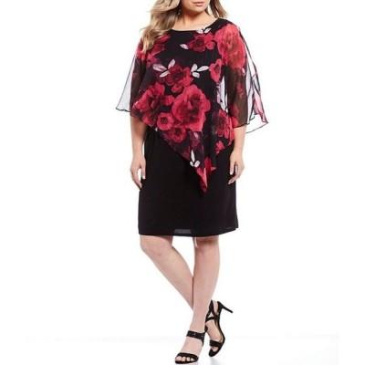イグナイト レディース ワンピース トップス Plus Size Embellished Shoulder Chiffon Floral Print Popover Sheath Dress