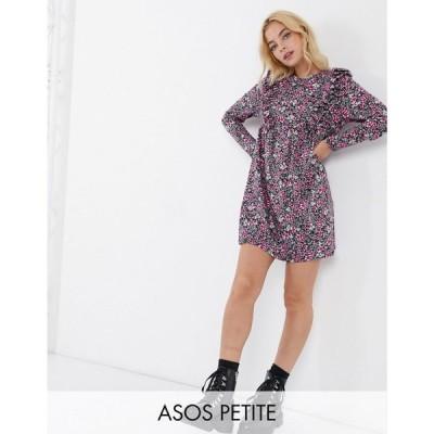 エイソス ASOS Petite レディース ワンピース ワンピース・ドレス Asos Design Petite Mini Smock Dress With Frill Detail In Pink Ditsy Floral Print