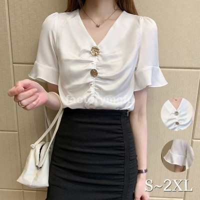 ブラウスレディースきれいめ40代春夏上品白ブラウスシャツシフォントップス半袖ゆったりオシャレ韓国風大人シャツ30代