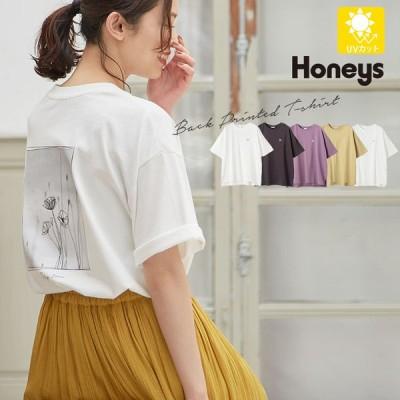 トップス Tシャツ 半袖 イラストプリント 綿 UVカット おしゃれ レディース 夏 秋 Honeys ハニーズ イラストプリントTシャツ