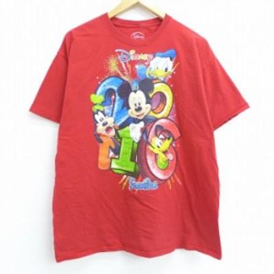 古着 半袖 Tシャツ ディズニー DISNEY ミッキー MICKEY MOUSE ドナルド グーフィー フロリダ コットン クルーネック 赤 レッド XLサイズ