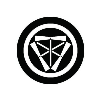 家紋シール 白紋黒地 中輪に三つ竹蜻蛉 布タイプ 直径23mm 6枚セット NS23-2322W