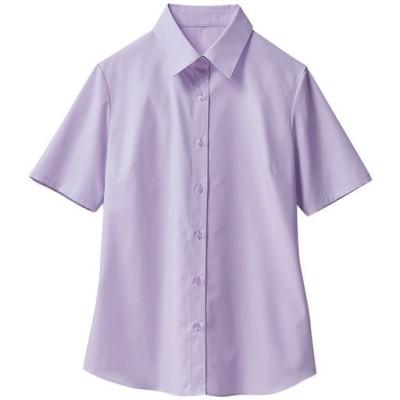 形態安定レギュラーカラーシャツ(半袖)(UVカット・抗菌防臭・洗濯機OK・部屋干しOK)/ライラック/M