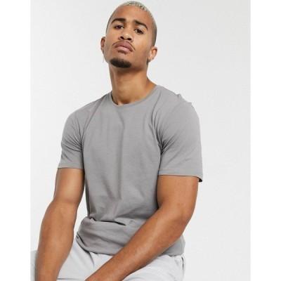 オンリーアンドサンズ メンズ Tシャツ トップス Only & Sons longline curved hem t-shirt in gray Titanium