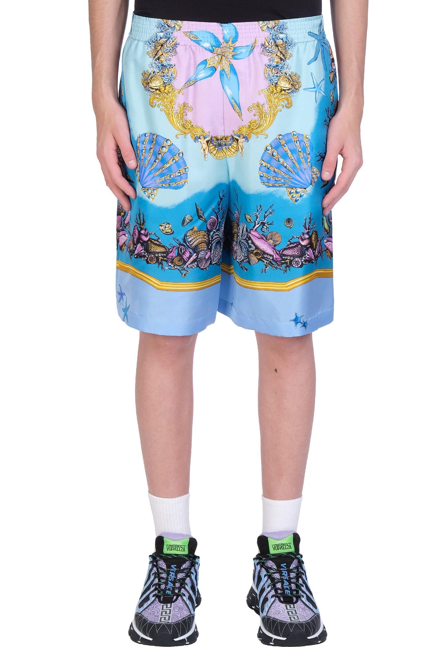 Versace Shorts In Cyan Silk