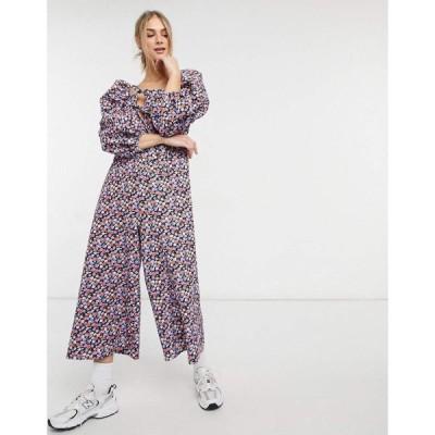 エイソス ASOS DESIGN レディース オールインワン ジャンプスーツ Asos Design Double Puff Sleeve Tie Front Jumpsuit In Purple Floral パープルフローラル