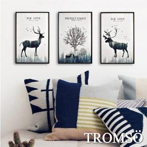 TROMSO北歐生活版畫有框畫-麋鹿原野WA57(三幅一組)