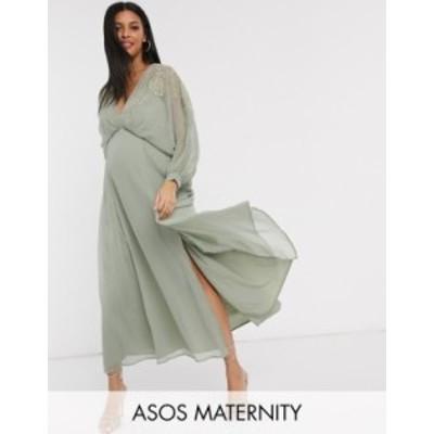 エイソス レディース ワンピース トップス ASOS DESIGN Maternity embroidered yoke crinkle chiffon maxi dress Sage green