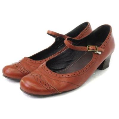 【中古】リーガル REGAL パンプス ストラップ ウイングチップ 茶 ブラウン系 24 靴 ■VPN レディース 【ベクトル 古着】