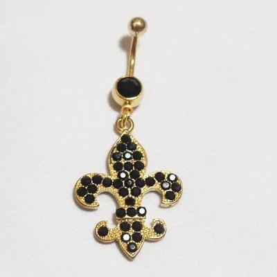 【LJ6363】 耳・へそ共用ピアス ユリの紋章 ブラック ゴールド色 【レディース】【メンズ】