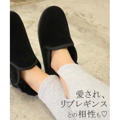 (miniministore/ミニミニストア)ローカット ムートンブーツ レディース ショート ブーツ ボア 暖かい 靴 即納/レディース ブラック