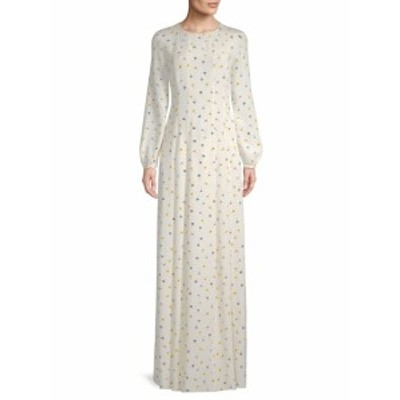 オスカーデラレンタ レディース ワンピース Floral-Print Pleated Silk Dress