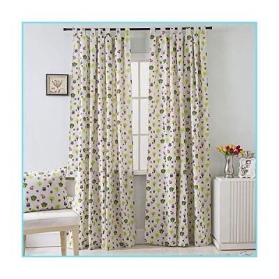 BROSHAN コットン&リネン 窓飾り 断熱 田舎のアシの花柄 遮光 窓用カーテン ドレープ 寝室 リビングルーム