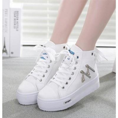 スニーカー 厚底靴 6cm インヒール ハイカット ダブルジッパー スカルチャーム バック紐付き 美脚 軽い 3色