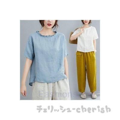 ブラウスレディース半袖トップスシャツTシャツ綿麻シャツブラウス春秋Tシャツ体型カバーゆったり着痩せ