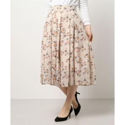 スカート 花柄シフォンミモレ丈スカート