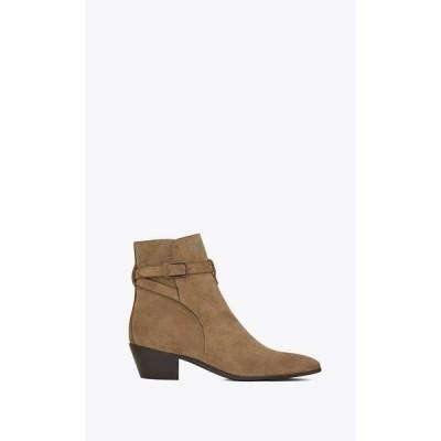 サンローラン SAINT LAURENT アンクルブーツ ブーツ シューズ 靴 タバコ スエード カーフスキン レザー