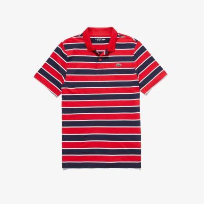 ラコステ LACOSTE ボーダーゴルフポロシャツ (ネイビー×レッド)