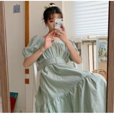 韓国 ファッション レディース ワンピース ギンガムチェック ロング ベルト付き ティアード フレア パフスリーブ 半袖 大人可愛い フェミ