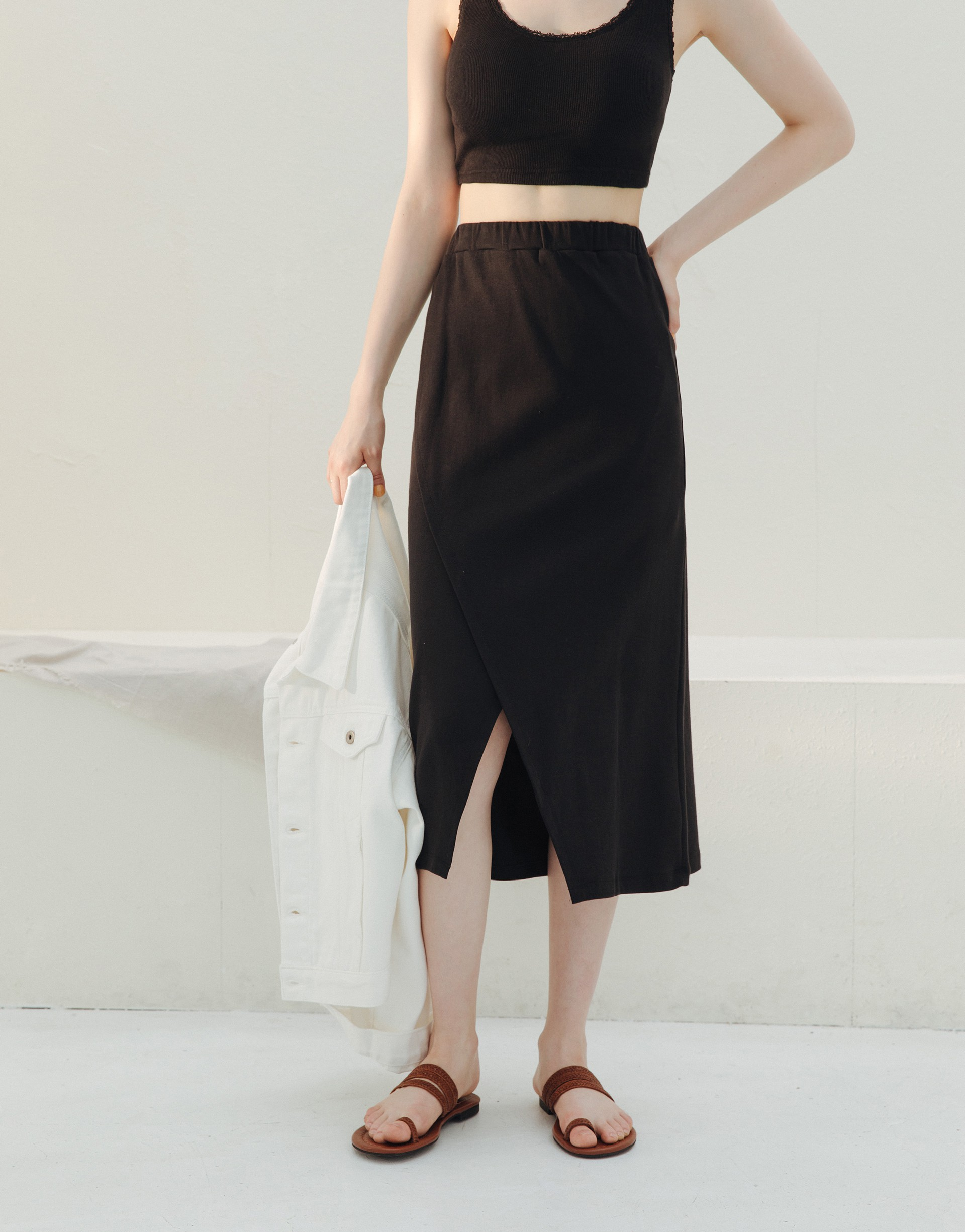 MIT 交疊造型中長裙-PAZZO