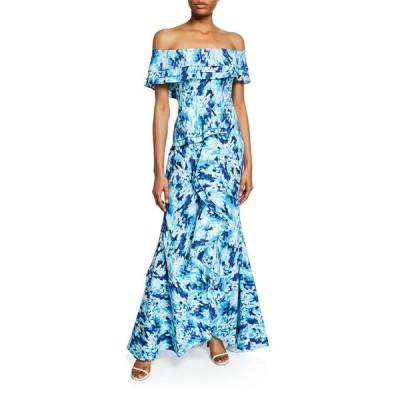 バッドグレイミッシカ レディース ワンピース トップス Printed Off-the-Shoulder Tiered Ruffle Mermaid Gown