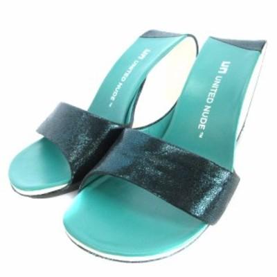 【中古】UNITED NUDE Mobius Hi ミュール サンダル オープントゥ 変形ヒール 緑系 グリーン 35 靴 レディース