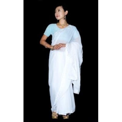 【送料無料】 インドのホワイトサリー【更紗刺繍】 / 民族衣装 デコレーション布 インドサリー レディース エスニック衣料 アジアンファ