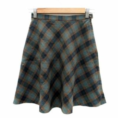【中古】ジェイクルー J.CREW スカート フレア ひざ丈 チェック柄 2 ウール マルチカラー 緑 グリーン レディース