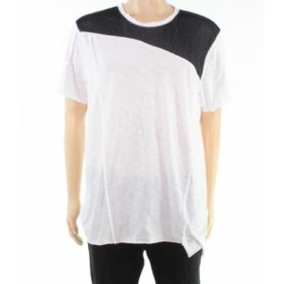 ファッション トップス INC Mens Shirt Pure White Black Size XL Mesh Colorblock Frayed Tee