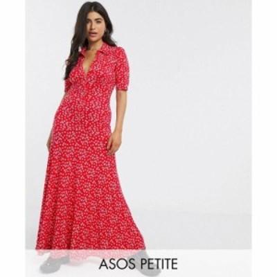 エイソス ASOS Petite レディース ワンピース ワンピース・ドレス ASOS DESIGN Petite short sleeve shirt maxi dress in Red ditsy prin