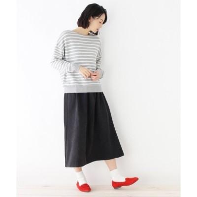pink adobe / ピンクアドベ 【セットアイテム】ボーダーニット+スエード調スカート