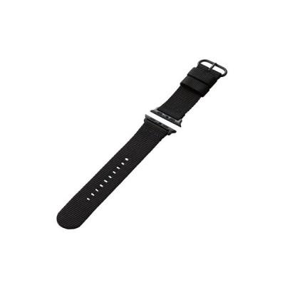 エレコム Apple Watch 44 42mm ファブリックバンド ブラック AW-44BDNATBK