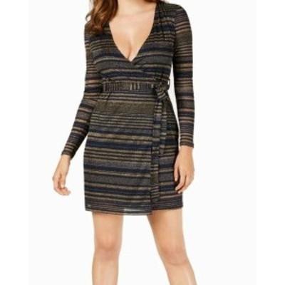 Gold ゴールド ファッション ドレス Guess Blue Gold Womens Size Medium M Glitter Striped Wrap Dress