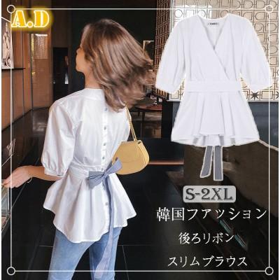 ≪大満足のレビュー多数✨≫韓国ファッション  CHIC気質 スリム ブラウス 着痩せ効果抜群 おしゃれ 新品 シャツ トップス 後ろ姿にリボンを添えて。後ろリボン トップス