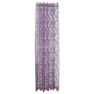 ウィンドウ カーテン エレガント 花 デザイン 透け ガーゼ カーテン ドレープ パネル  全5色 - 紫