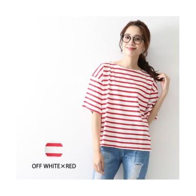 (OWNCODE/オウンコード)バスクボーダー短丈Tシャツ/レディース オフホワイト系5