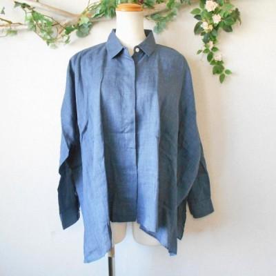 美品 ダーマコレクション DAMA collection 麻 100% レディース 用 身幅の広い お洒落 な シャツ ブラウス 日本製 1