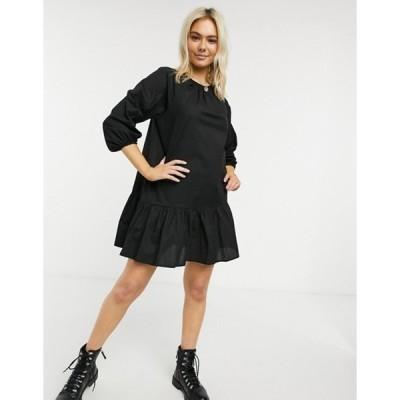 エイソス レディース ワンピース トップス ASOS DESIGN cotton poplin mini smock dress with pephem in black