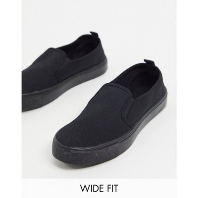 エイソス ASOS DESIGN レディース スリッポン・フラット シューズ・靴 Wide Fit Dotty slip on plimsolls in black ブラック