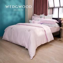 【WEDGWOOD】400織長纖棉甜蜜梅果鬆緊床包單件組(粉紫)-雙人