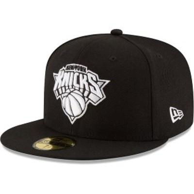 ニューエラ メンズ 帽子 アクセサリー New York Knicks New Era Black & White Logo 59FIFTY Fitted Hat Black