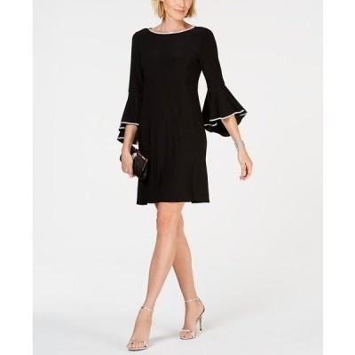 ミスク ワンピース トップス レディース Rhinestone-Trim Bell-Sleeve Dress Black